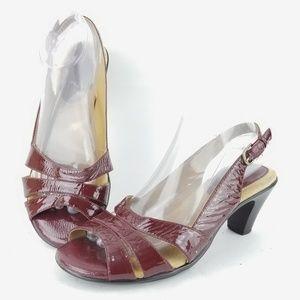 Softspots 9 Wide Red Slingback Sandal Heel EJ24